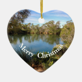 Hot springs Christmas heart ornament
