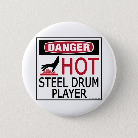 Hot Steel Drum Player 6 Cm Round Badge