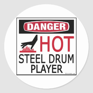 Hot Steel Drum Player Classic Round Sticker