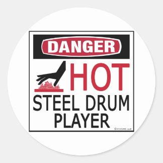 Hot Steel Drum Player Round Sticker