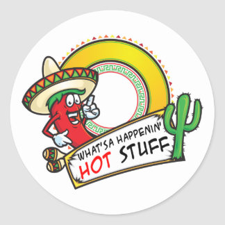 Hot Stuff Spicy Red Pepper Mexico Round Sticker