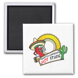 Hot Stuff Spicy Red Pepper Mexico Square Magnet