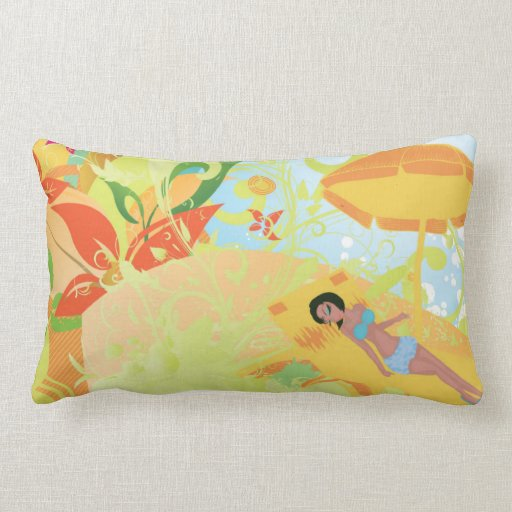 Hot Summer Day Girly Grunge Vector Design Throw Pillows