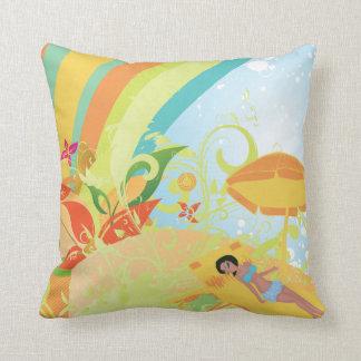 Hot Summer Day Girly Grunge Vector Design Pillows