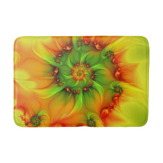 Hot Summer Green Orange Abstract Colorful Fractal Bath Mats