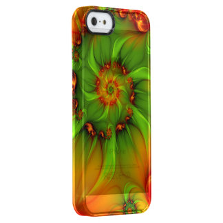Hot Summer Green Orange Abstract Colorful Fractal Clear iPhone SE/5/5s Case
