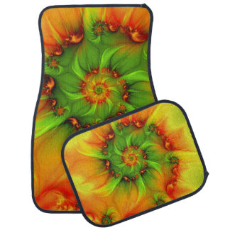 Hot Summer Green Orange Abstract Colorful Fractal Floor Mat