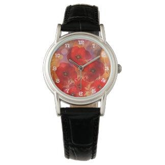 Hot summer poppies with custom Monogram Watch