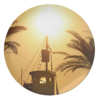 Hot summer ship palms sun photo decorative plate