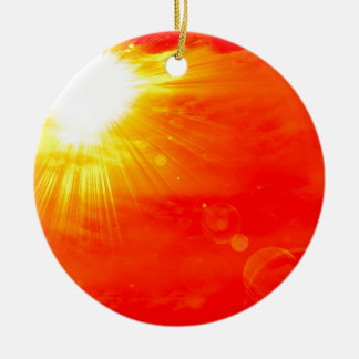 Hot summer sun round ceramic decoration