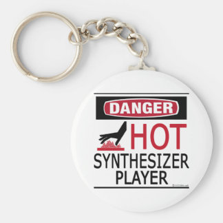 Hot Synthesizer Player Basic Round Button Key Ring
