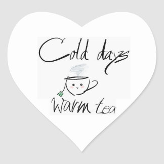 Hot tea, cold days heart sticker