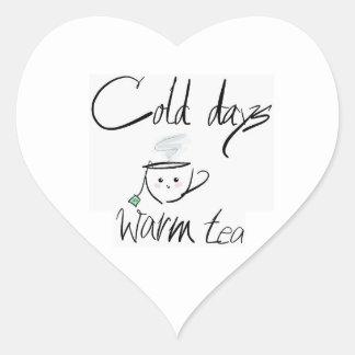 Hot tea, cold days heart sticker