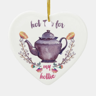 Hot tea for hottie art in vintage watercolor style christmas ornament