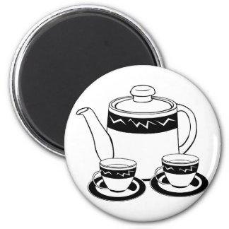 Hot Tea - Tea Pot  and Tea Cups Fridge Magnets