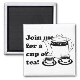 Hot Tea - Tea Pot and Tea Cups Refrigerator Magnets