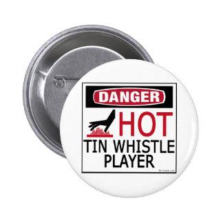 Hot Tin Whistle Player 6 Cm Round Badge