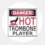 Hot Trombone Player Round Sticker