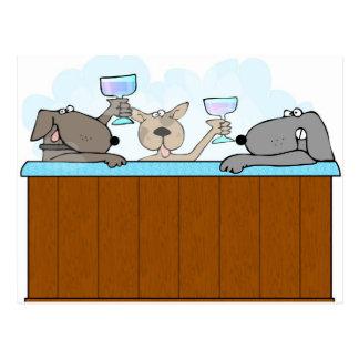 Hot Tub Dogs Postcard
