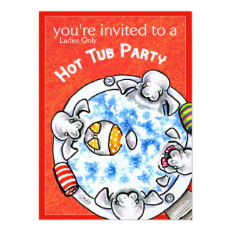 Hot Tub Party Funny Manatees Off-Leash Art™ Red 14 Cm X 19 Cm Invitation Card