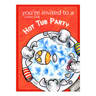 Hot Tub Party Funny Manatees Off-Leash Art™ Red Custom Invite