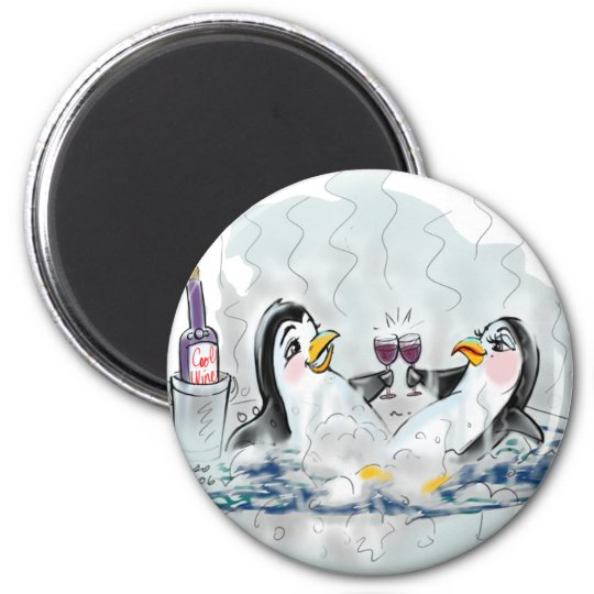 Hot Tub Penguins! 6 Cm Round Magnet