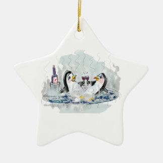 Hot Tub Penguins Ceramic Star Decoration