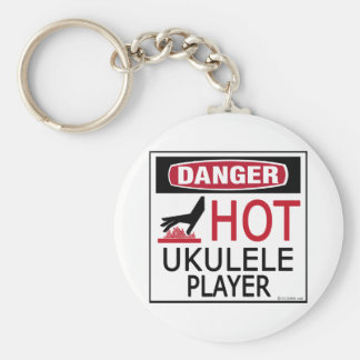 Hot Ukulele Player Basic Round Button Key Ring