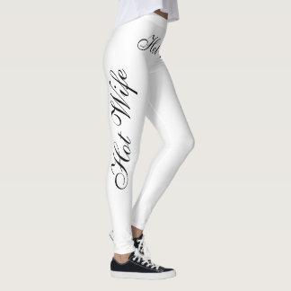 hot wife black  on white leggings