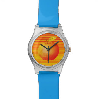 Hot Yellow Orange Stripes Apple Fruit Bold Blue Watch