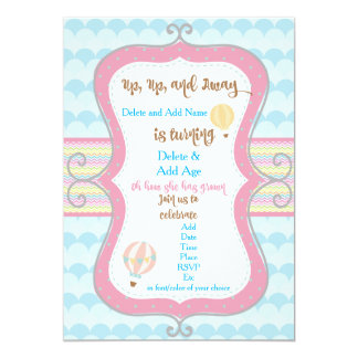 Hotair Balloon Birthday Invitation