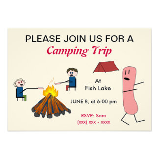 Hotdog Camping trip invitation
