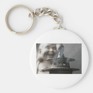 Hotei Buddha and Incense Basic Round Button Key Ring