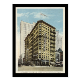 Hotel Continental, New York City 1920s Vintage Postcard