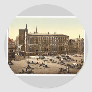 Hotel de Ville and market place, Aachen, the Rhine Round Sticker