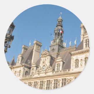 Hotel de Ville (City Hall) in Paris, France Round Sticker