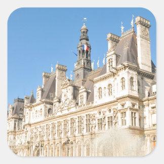 Hotel de Ville (City Hall) in Paris, France Square Sticker