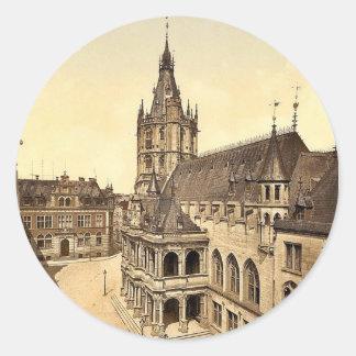 Hotel de Ville, Cologne, the Rhine, Germany classi Round Sticker