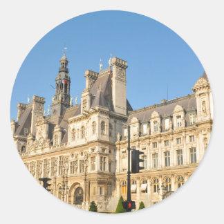 Hotel de Ville in Paris, France Round Sticker