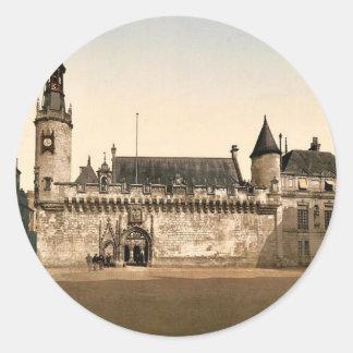 Hotel de ville, La Rochelle, France vintage Photoc Round Sticker