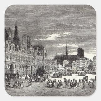Hotel de Ville, Paris, 1847 Square Sticker