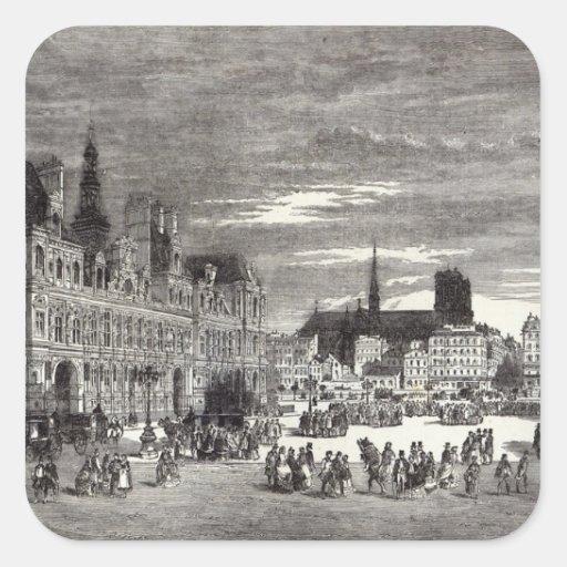 Hotel de Ville, Paris, 1847 Square Stickers