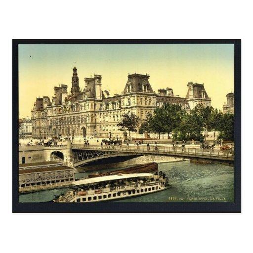 Hotel de ville, Paris, France classic Photochrom Post Cards