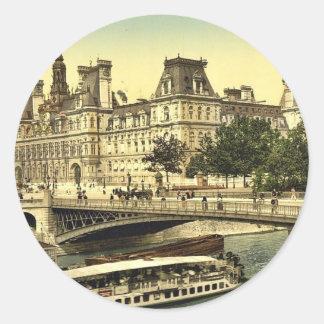 Hotel de ville, Paris, France classic Photochrom Round Stickers
