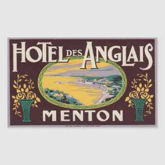 Hotel des Anglais (Menton France) Rectangular Sticker