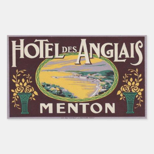 Hotel des Anglais (Menton France) Rectangular Sticker