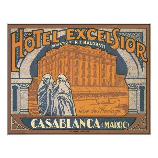 Hotel Excelsior Casablanca (Maroc), Vintage 21.5 Cm X 28 Cm Flyer