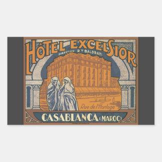 Hotel Excelsior Casablanca (Maroc), Vintage Rectangular Sticker