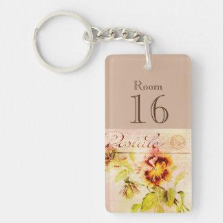Hotel lodge resort room key (double sided) key ring