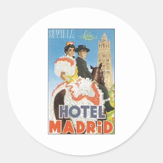 Hotel Madrid Sevilla Classic Round Sticker